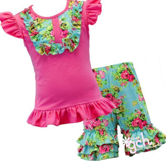 abdc5b2d8fe8 Hot Pink   Mint Floral Blue Boutique Shorts Outfit 4 5 6 7 8 10 12 ...