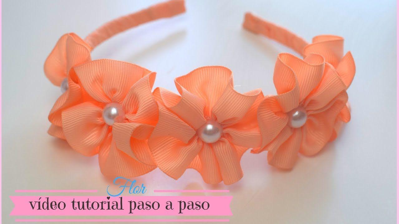 Flor De Cinta Para Diadema Cintillos Max Q Wapa Diy  ~ Lazos De Cinta De Raso Paso A Paso