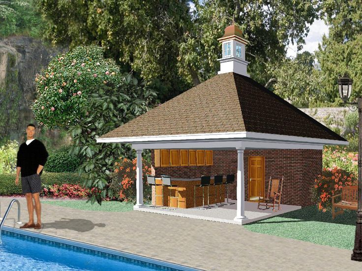 006p 0002 Pool House Plan With Outdoor Kitchen