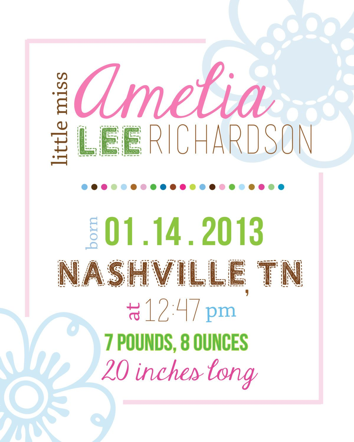 Custom baby girl birth announcement 8x10 wall print for nursery custom baby girl birth announcement 8x10 wall print for nursery gift via etsy negle Choice Image
