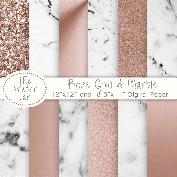 White Marble Geometric Paper Backgrounds Scrapbooking Digital Geometric  Rose Gold Marble Digital Paper Backgrounds Textures Patterns