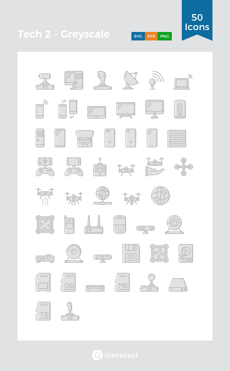 Download Tech 2 - Greyscale Icon Pack - 50 Filled Outline Icons ...