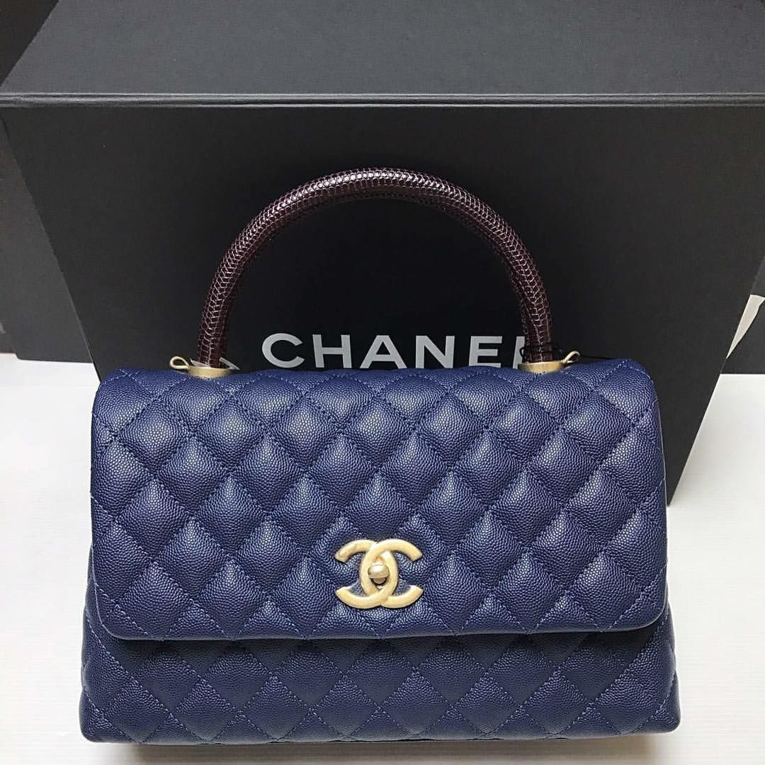1c03c0489824 Chanel Coco Handle Medium Blue Caviar with Lizard Handle | My Closet ...