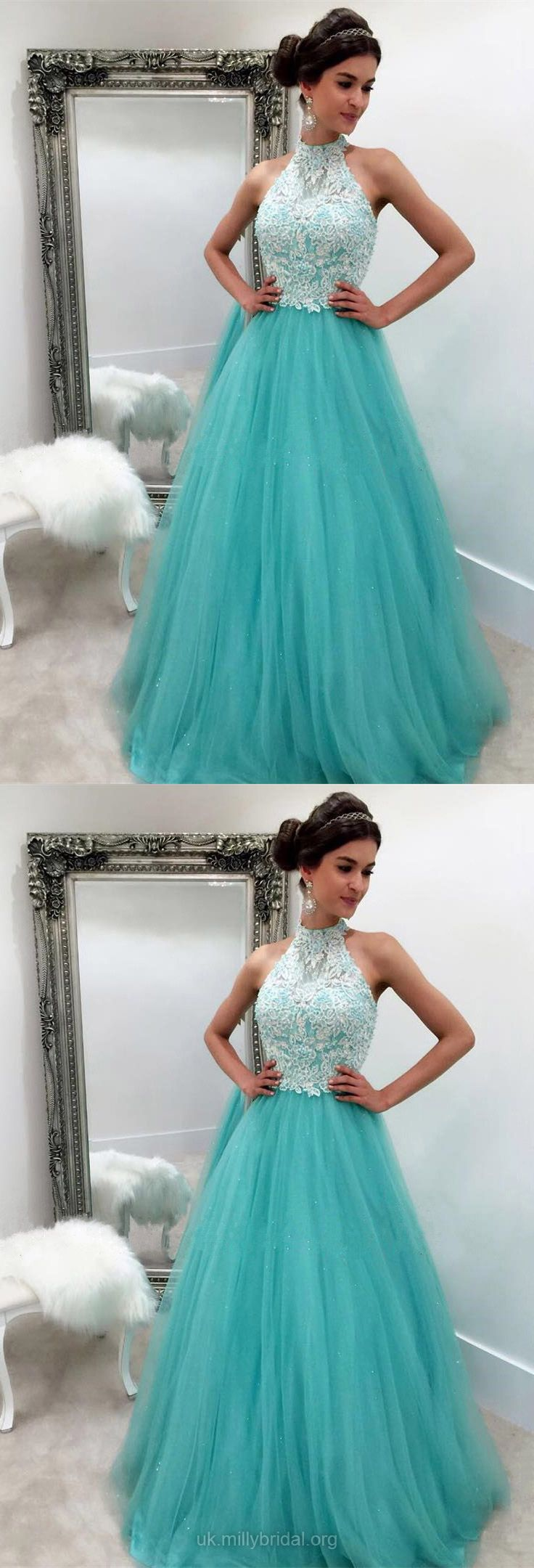 Blue and green prom dress  Long Prom Dresses Classy Green Prom Dresses Lace Modest Formal