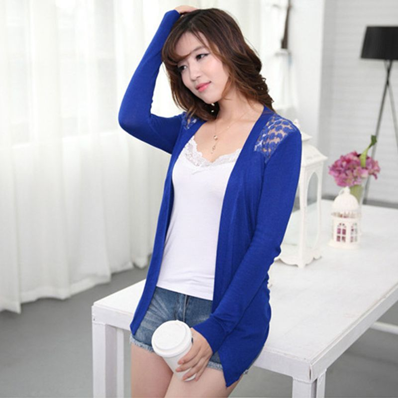 Dropshipping Autumn Women Cardigan Sweaters New Design Ladies Candy Color  Lace Knitted Shrugs Casual Short Loose Solid Shirt 6062e07ca