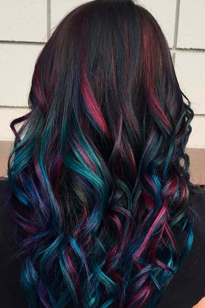 Color Hairstyles Brilliant 30 Rainbow Hair Looks For Brunettes  Pinterest  Rainbow Hair
