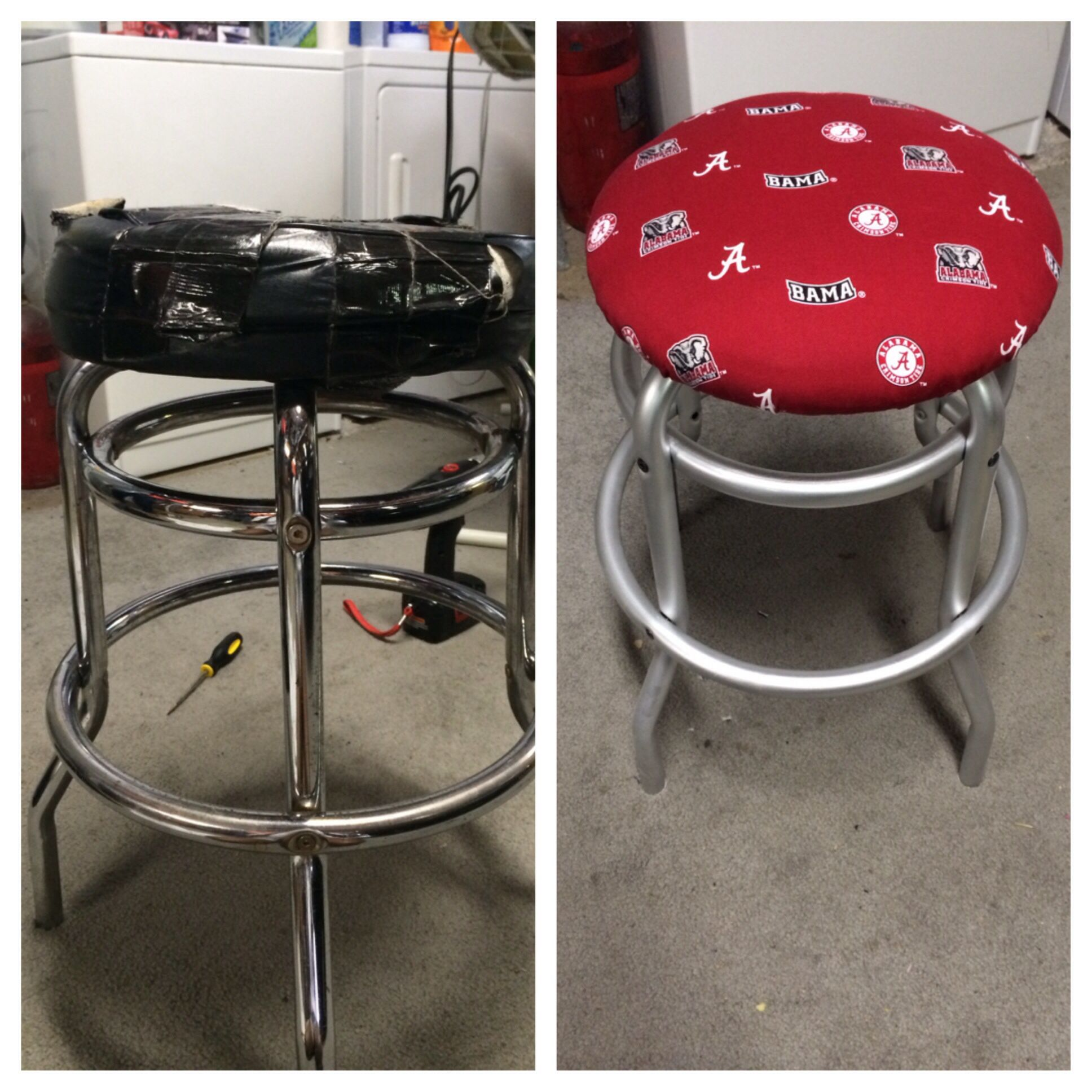 My First Upcycled Reupholster No Sew Bar Stool Left Before Right
