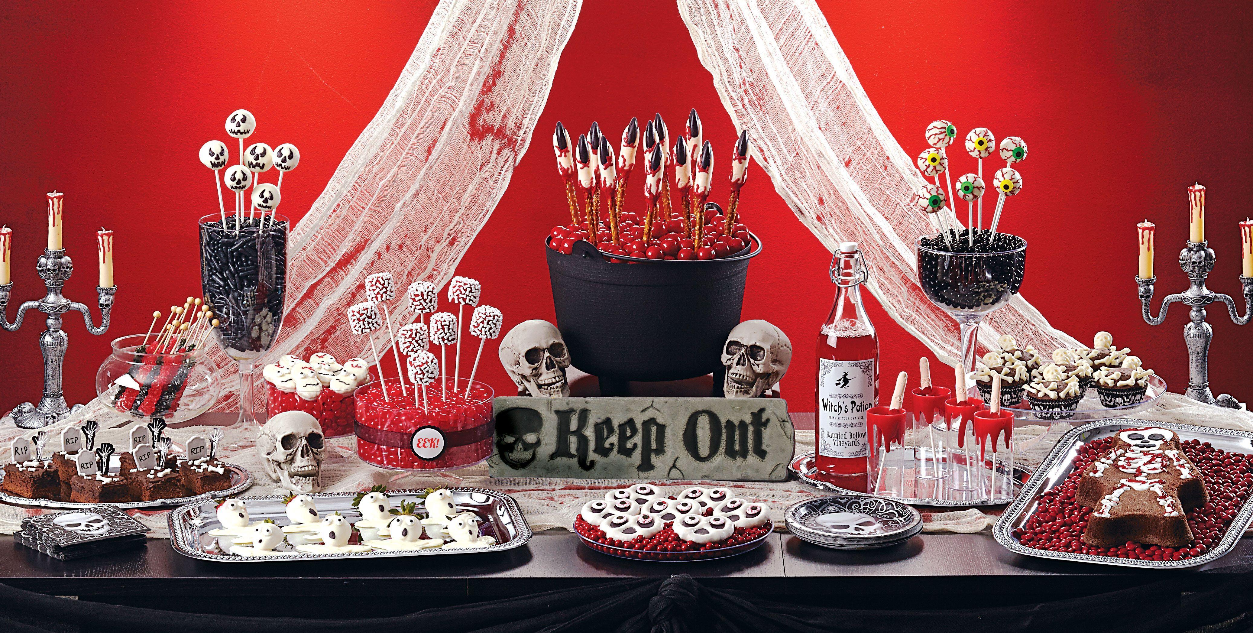 Halloween buffet table - Red Black Candy Halloween Buffet Google Search
