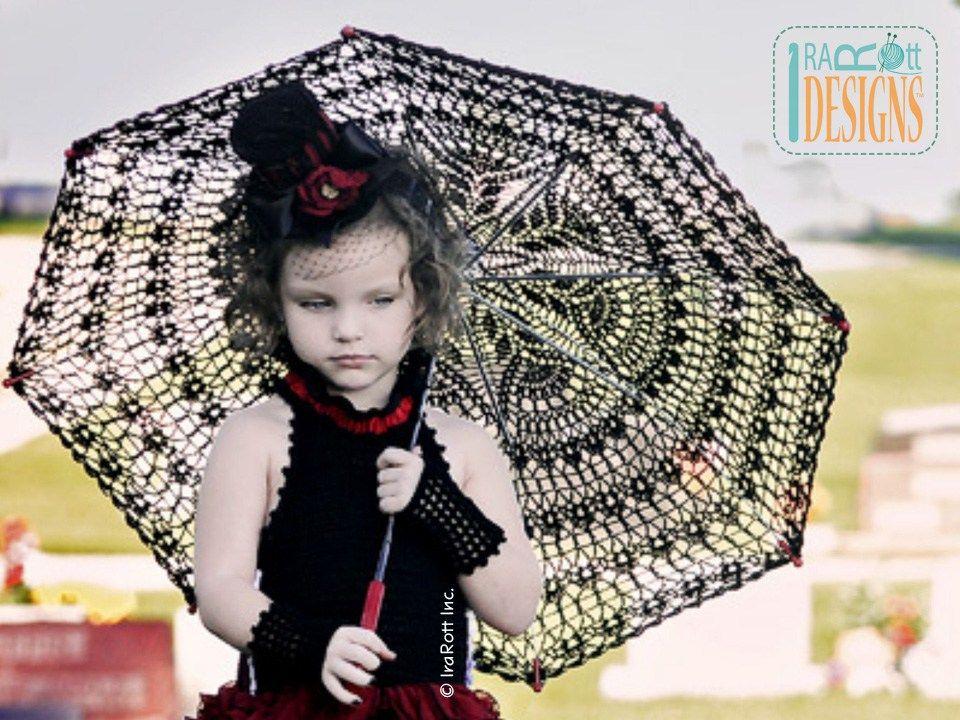 Victorian Goth Steampunk Style Lace Parasol PDF Crochet Pattern by IraRott