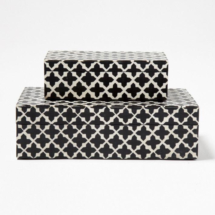 Black And White Decorative Boxes Patterns Decorative Boxes Designtozai  House Pretty