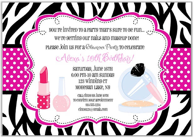 Glamour Girl Makeover Birthday Party Invitations Glamour Makeover