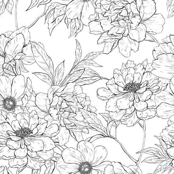 Black And White Floral Wall Mural Self Adhesive Fabric Etsy Floral Wall Black And White Wallpaper Floral Wall Art