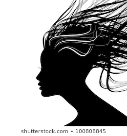 Woman Face Silhouette Wavy Hair Stock Vector Royalty Free 98113553 Woman Face Silhouette Female Face Drawing Silhouette Drawing
