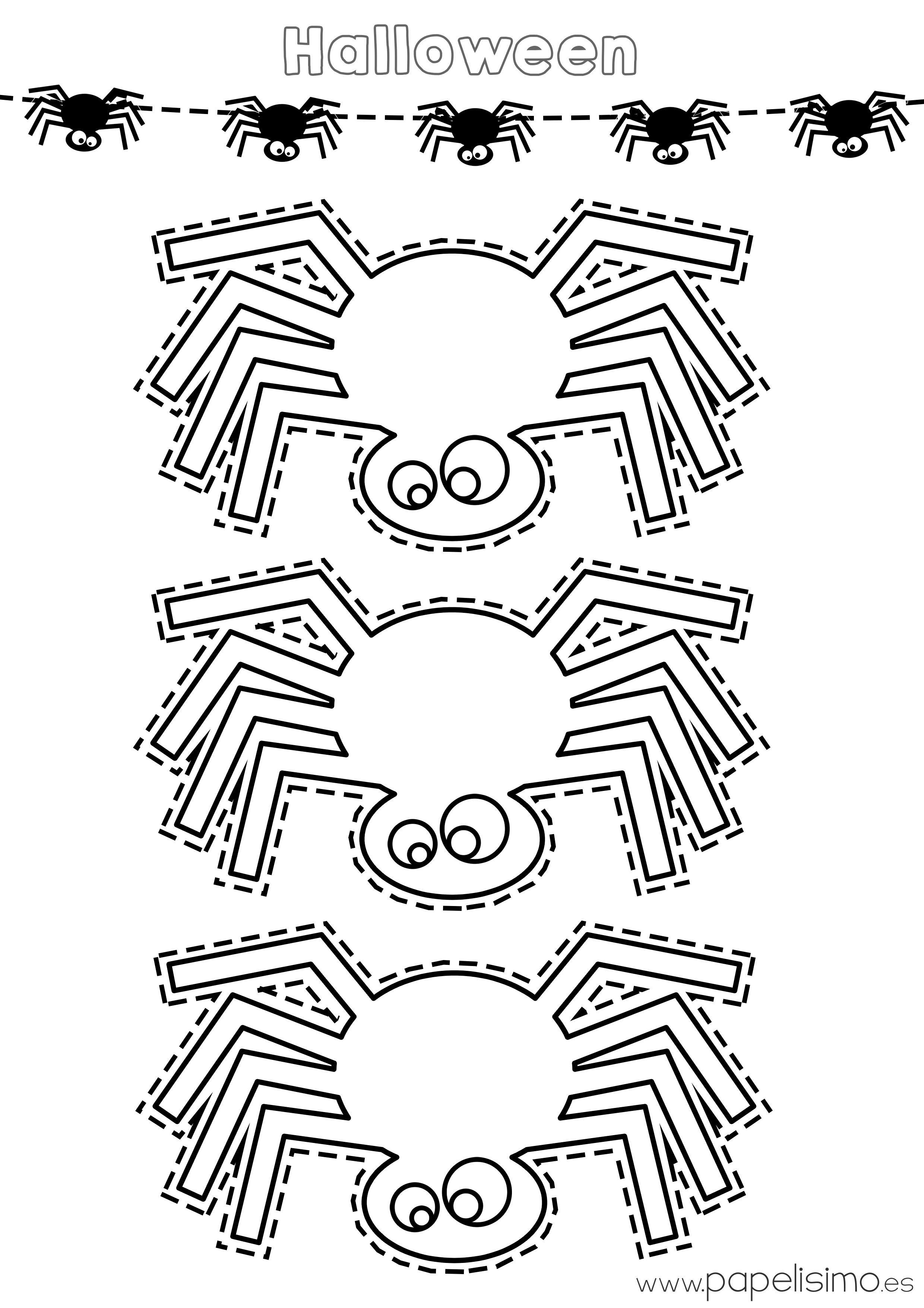 Plantilla-araña-Halloween-imprimir-colorear-recortar | Moldes ...