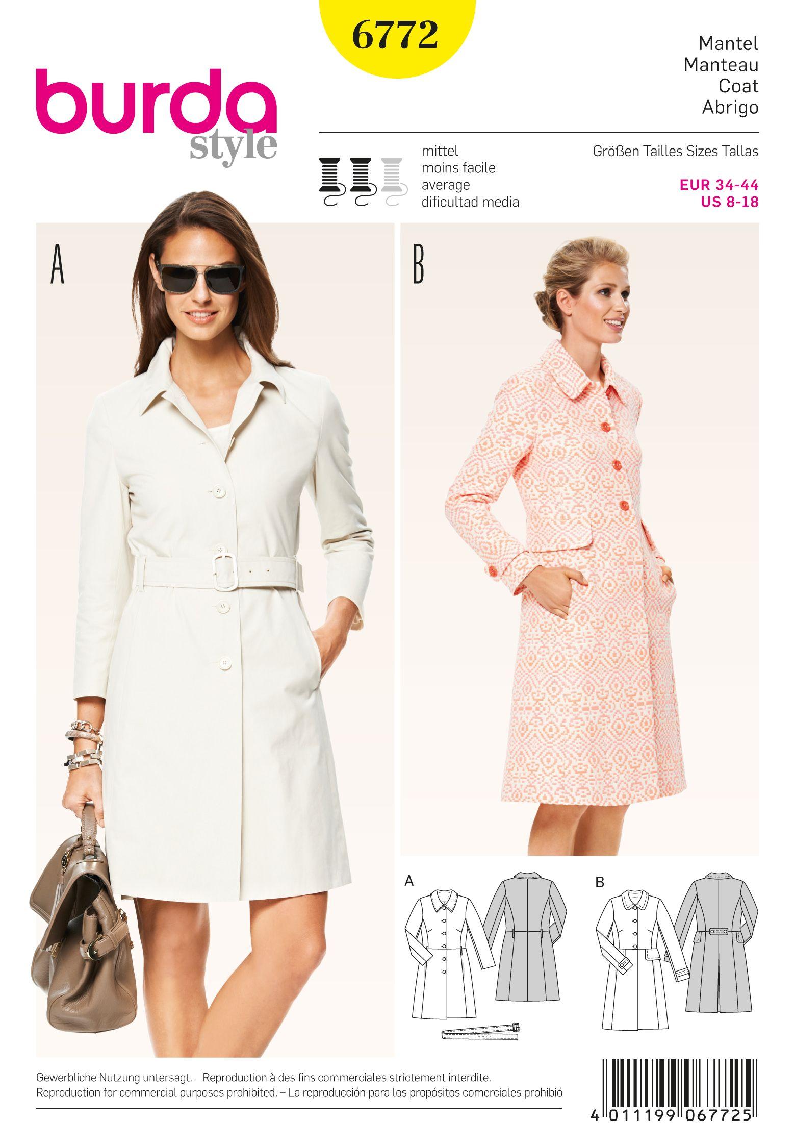 Burda 6772 Burda Style Jackets, Coats, Vests | Costura