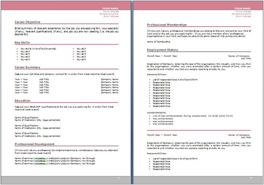 resume in australian format