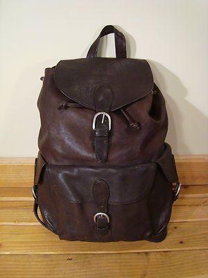 Vintage London Fog Brown Leather Backpack Bag Camping School Ruck Sack Leather Bags Brown Leather Backpack