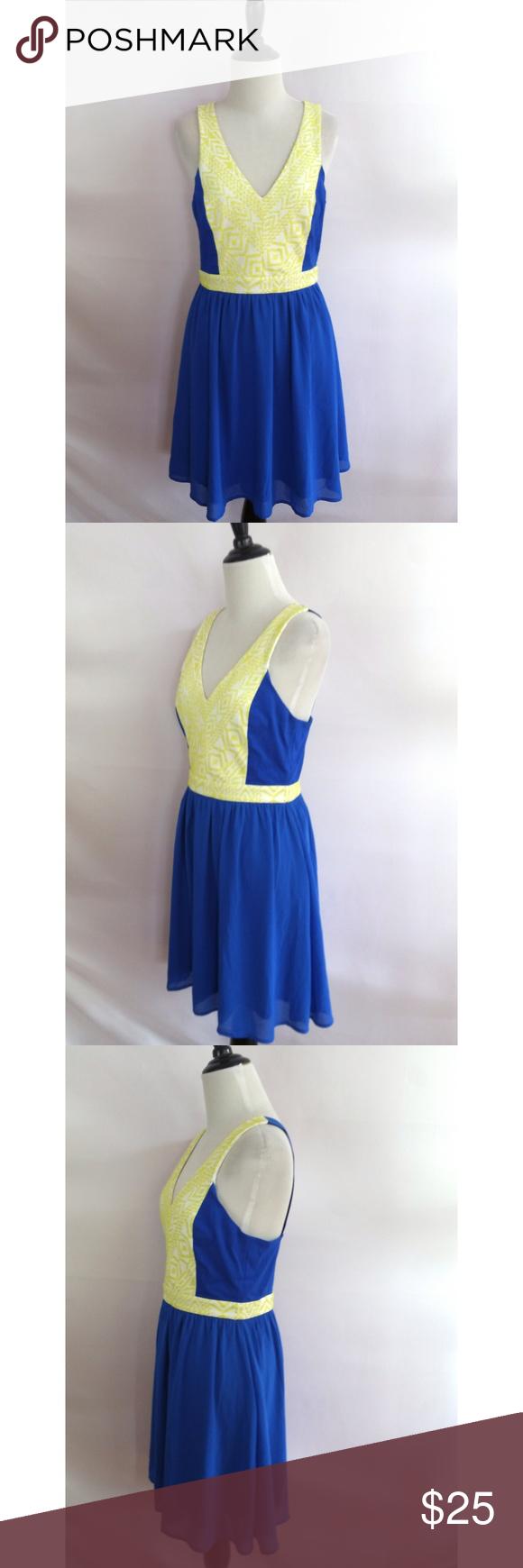 Jealous Tomato Size M Blue Dress Yellow Trim Item Specifics Size M Back Zipper 100 Polyester Lined Hand Wash Nwt Please Ch Dresses Yellow Dress Blue Dresses [ 1740 x 580 Pixel ]