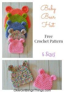 Baby Bear Hat 5 Sizes - Free Crochet Pattern - OkieGirlBling'n'Things