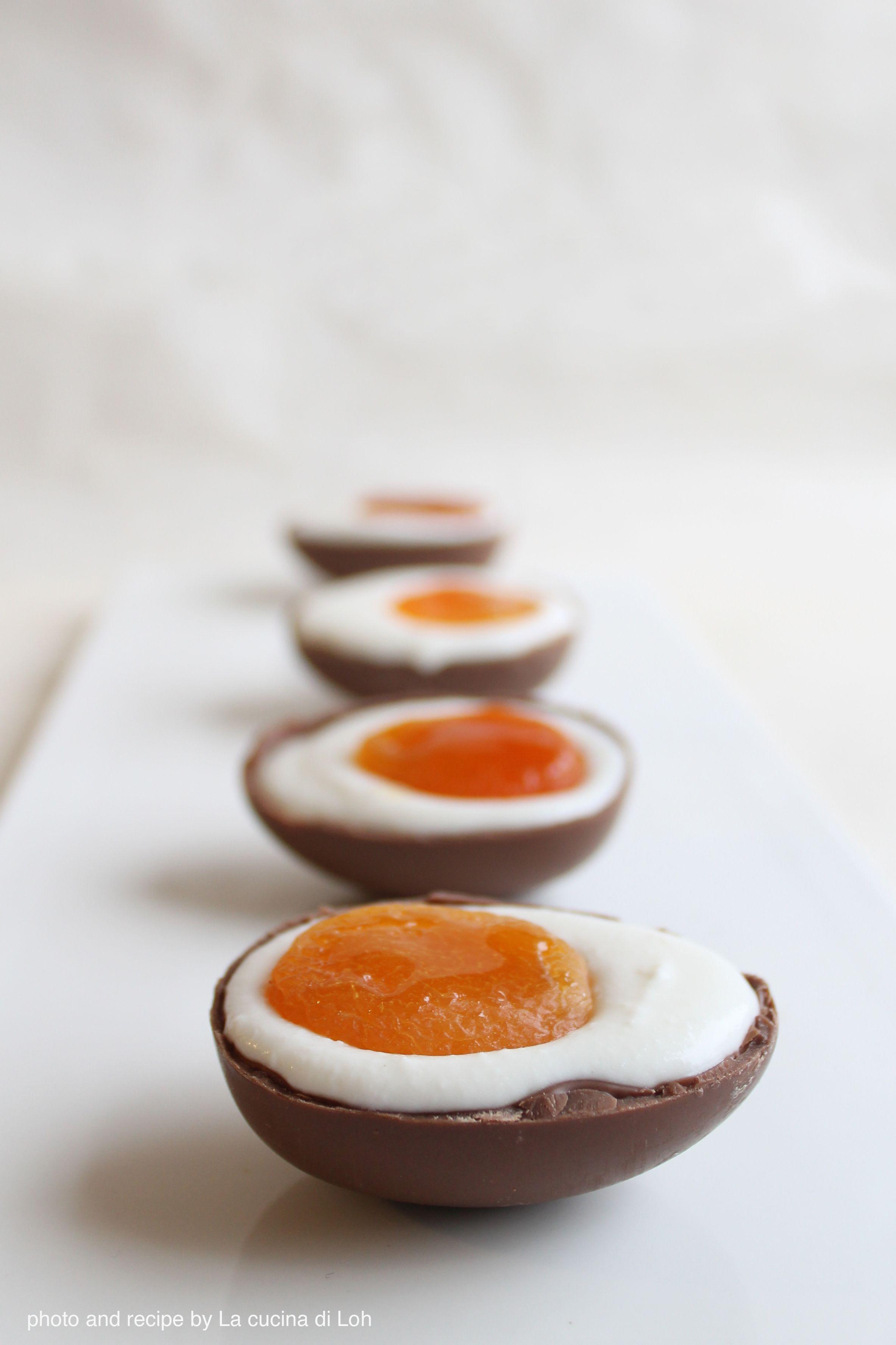 Eggs illusion (chocolate eggs, ricotta and sugar creme, dried apricots) - uova di cioccolato, crema di ricotta e albicocche secche