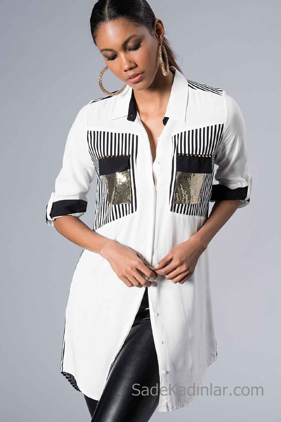 2020 Beyaz Gomlek Modelleri Uzun Kol Onden Dugmeli Payetli Cep Detayli Tasarimci Giyim Moda Stilleri Moda Tasarimcilari