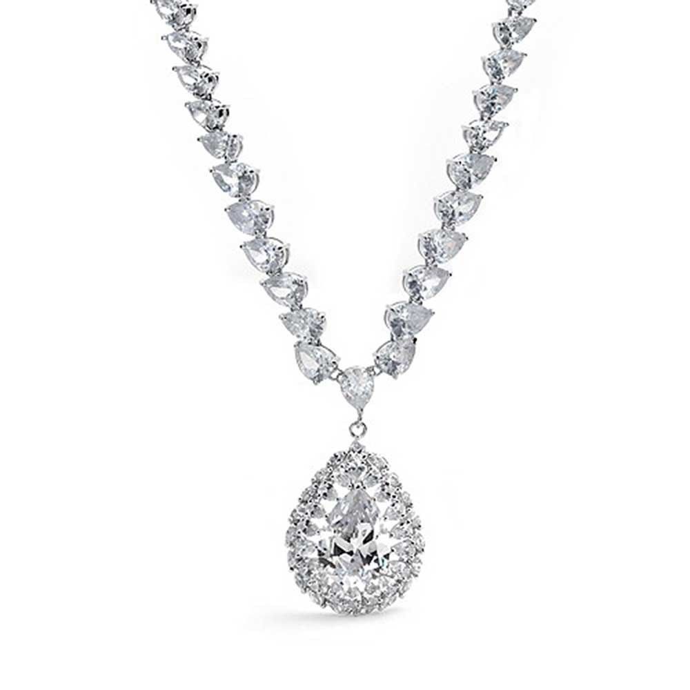 Cubic zirconia teardrop pear vintage style necklace bling jewelry