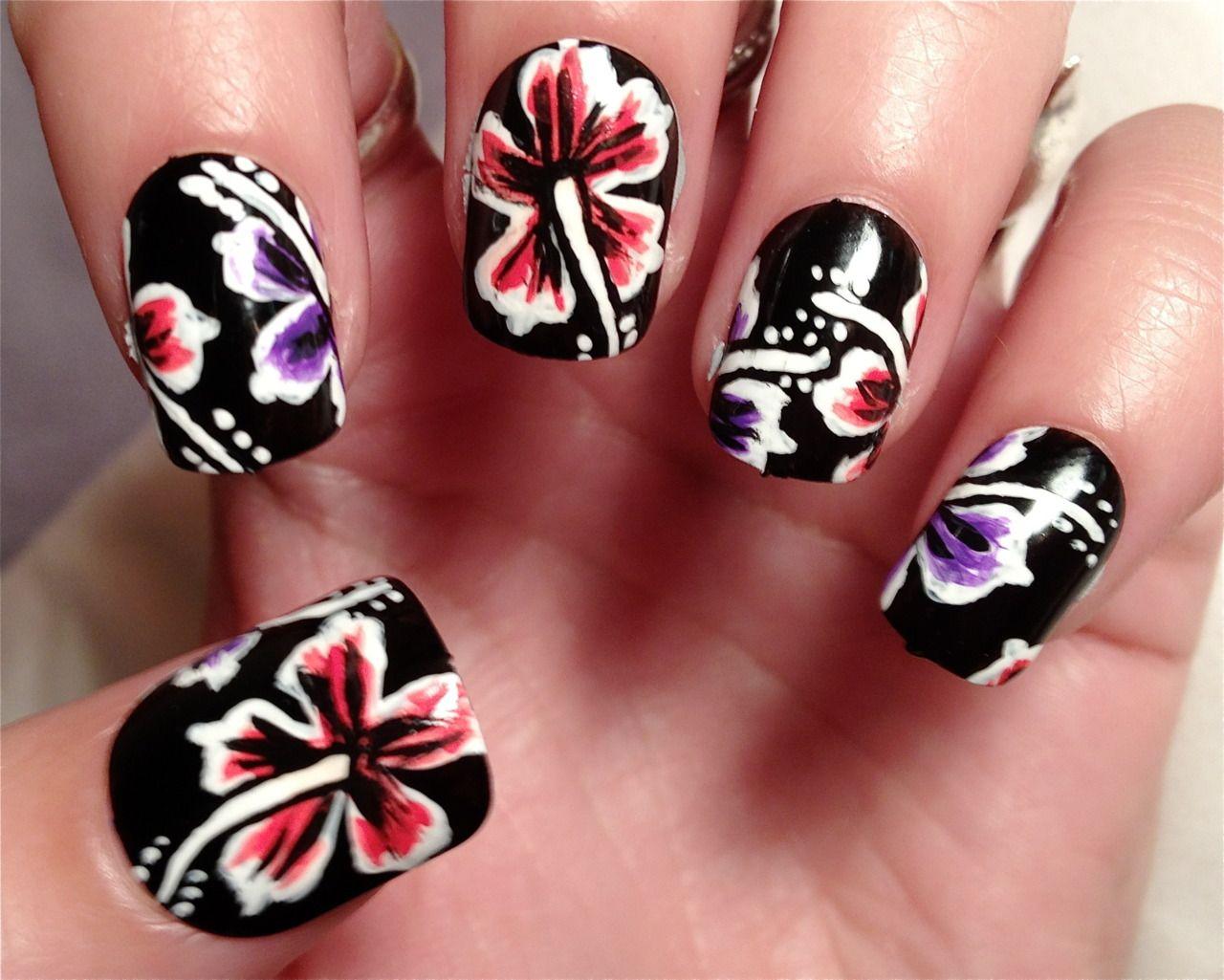 Hawaiian nails 2 nails nails nails pinterest hawaiian nails heres a tutorial for the hawaiian flower nails izmirmasajfo