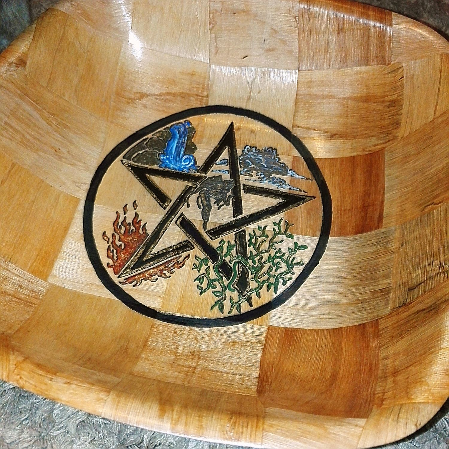 Pentagram wicca Pagan Viking  NATURAL rustic hand painted handmade wooden bowl unique Home table decor #viking #pagan #homedecor #halloween