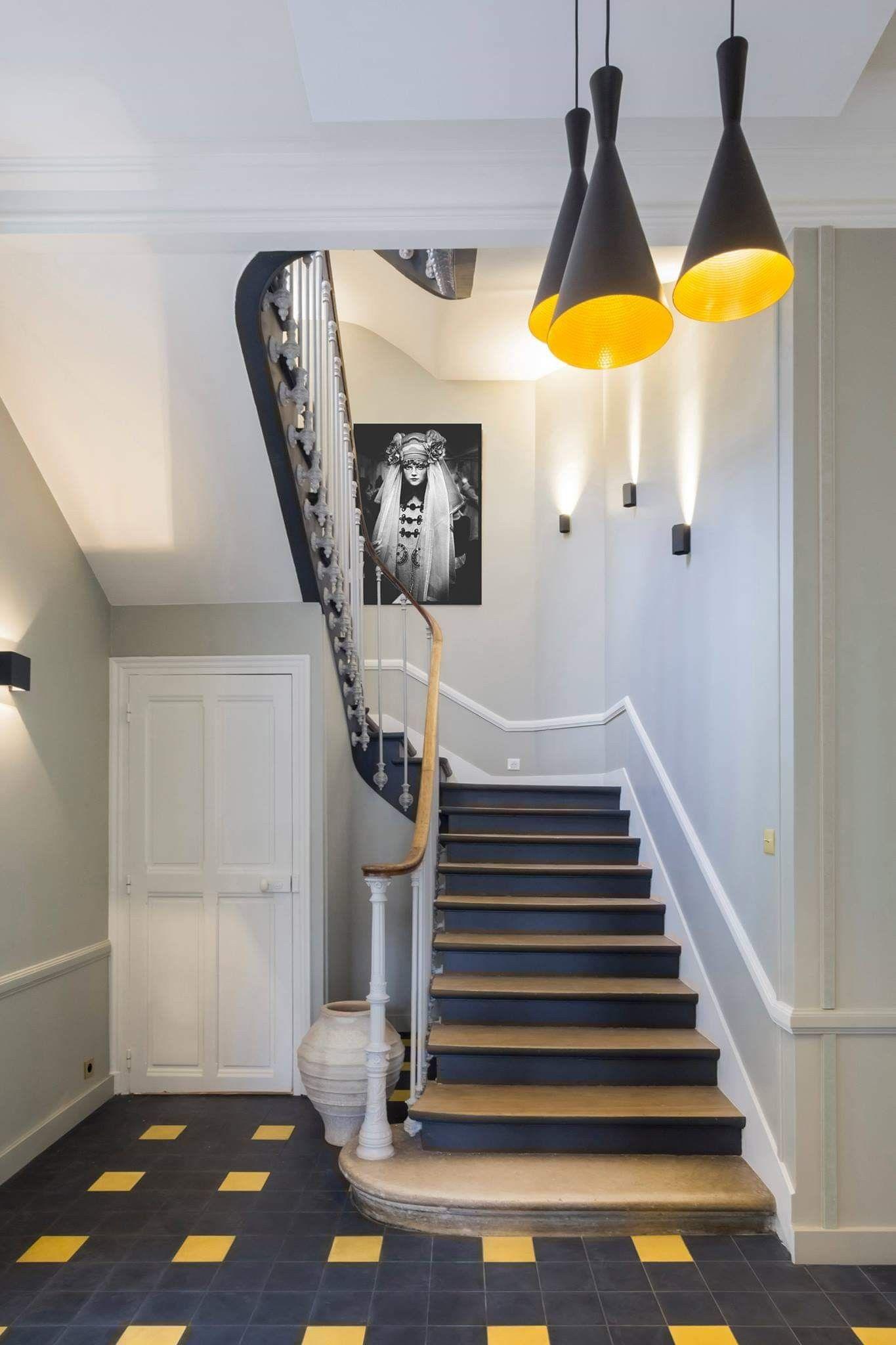 Remplacer Un Carreau De Carrelage entrée carrelage noir et jaune | renovation escalier bois