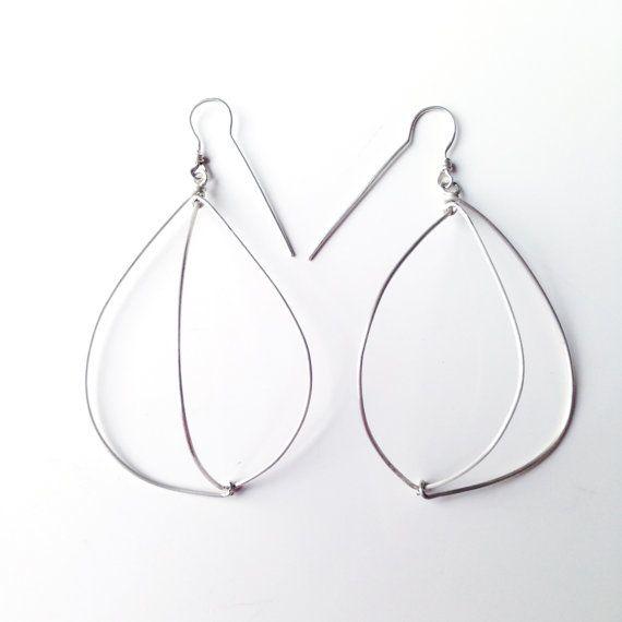 Open Cage unique geometrical earrings in silver by LauraEssayie