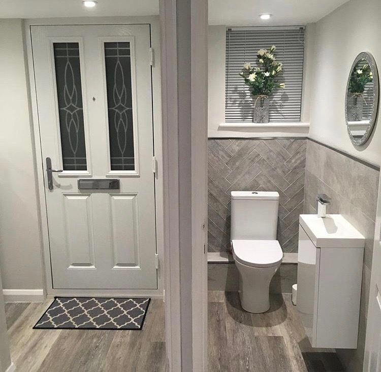 Herringbow tiles #interiordecorationideasdiy #smalltoiletroom