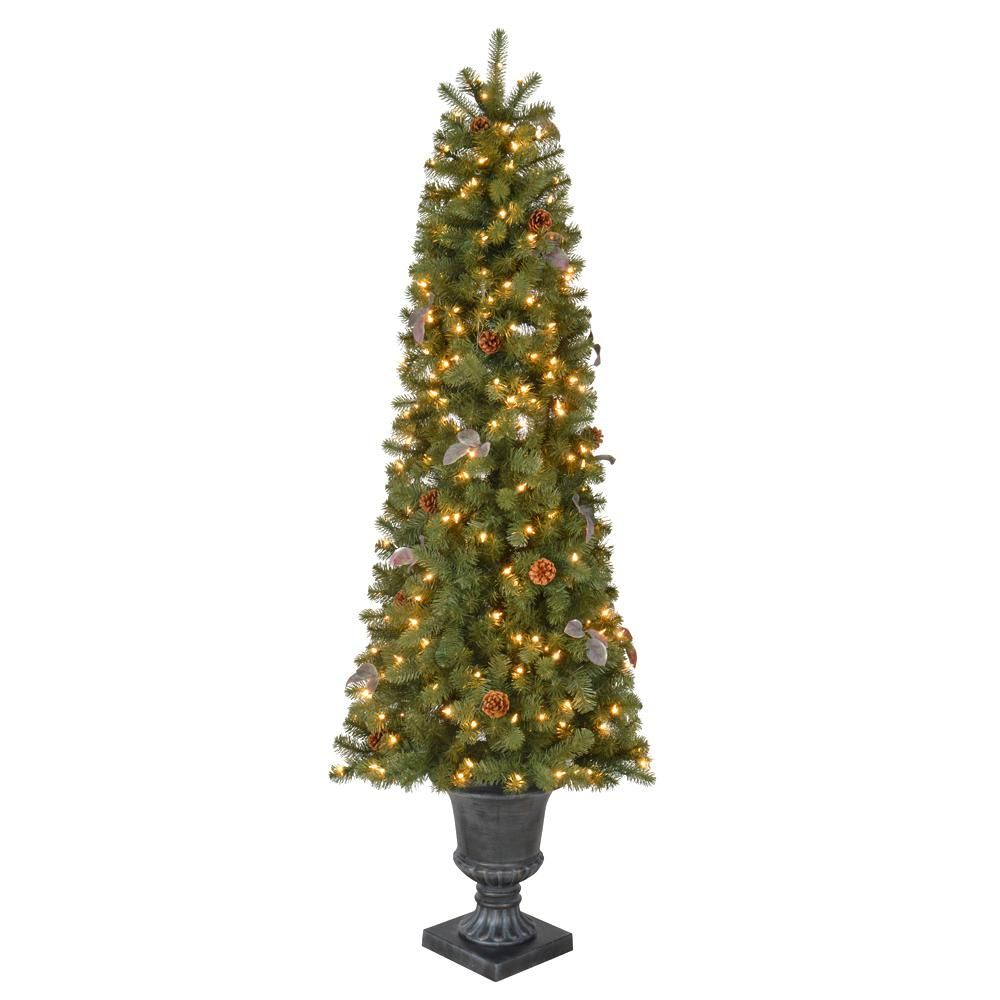 6 5 Ft Pre Lit Greenland Potted Artificial Christmas Potted Tree With Clear Lights Slim Artificial Christmas Trees Christmas Pots Artificial Christmas Tree