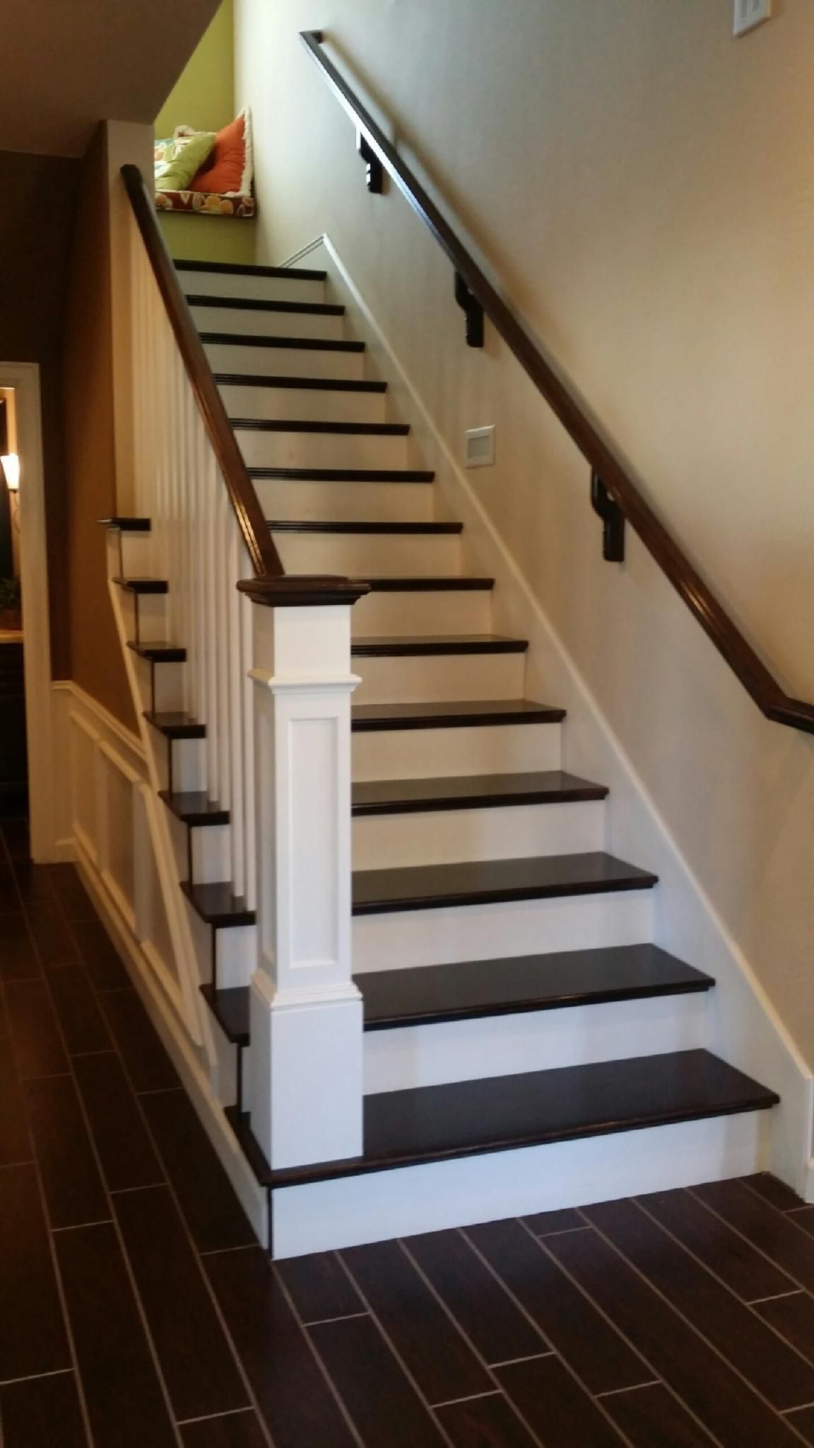 Two Tone Mission Stair With Extra Large Box Newel Maple Full Treads Paint