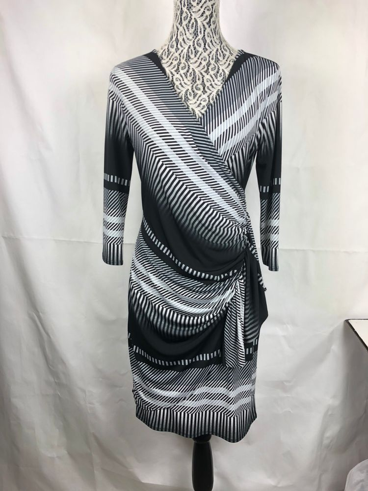 d48763923ec New York   Company Stretch Women Wrap Dress 3 4 Sleeve Ruffle Sz M Black  Gray 83  NYC  FauxWrapDress  PartyCocktail