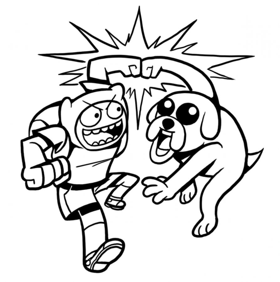 Adventure Time Finn and Jake having fun coloring pages | Fun ...
