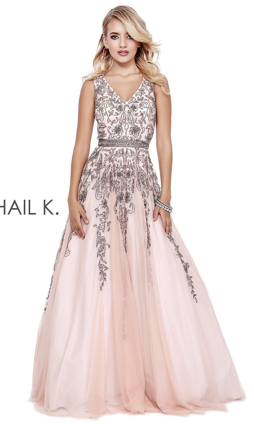 1512522f3e2 Long Shail K Prom Dress with Beaded Bodice