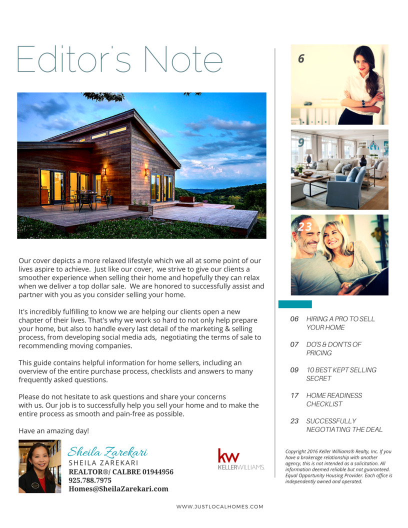 Just Local Homes' Home Seller Guide Excerpt #danville #sanramon #SRVUSD