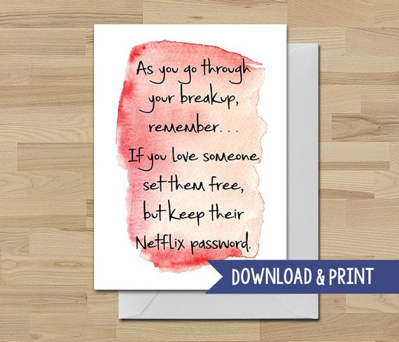 Funny Breakup Sympathy Card   Printable Card   Netflix   Sorry  Free Printable Sorry Cards