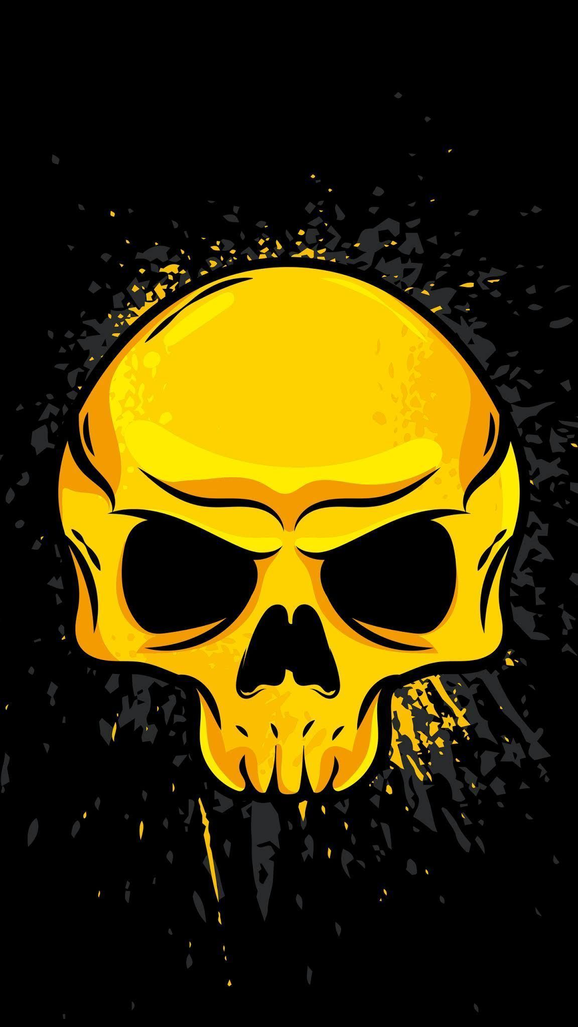 Gold Schädel Minimalist Wallpaper in 2020 Skull