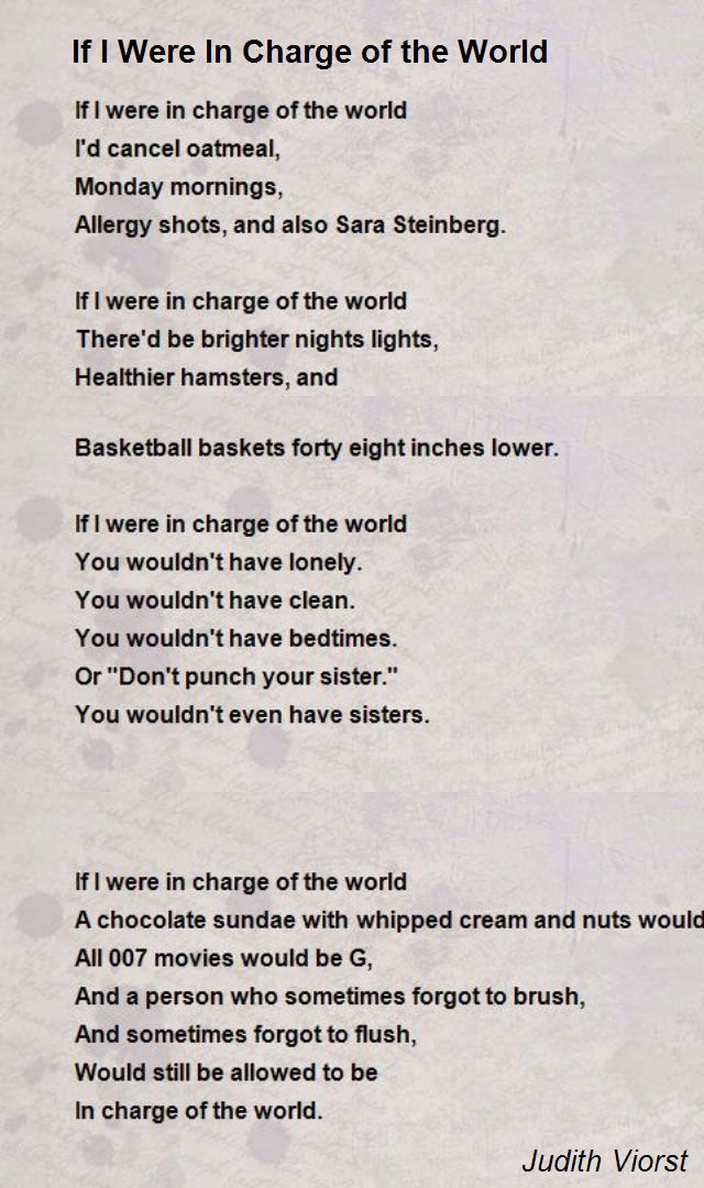 if i were in charge of the world poem by judith viorst poem hunter monday morning school and genius hour - Sample Resume For School Incharge