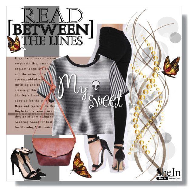 """SheIn: B&W Striped T-Shirt"" by wreathjar ❤ liked on Polyvore featuring STELLA McCARTNEY, Sheinside and shein"