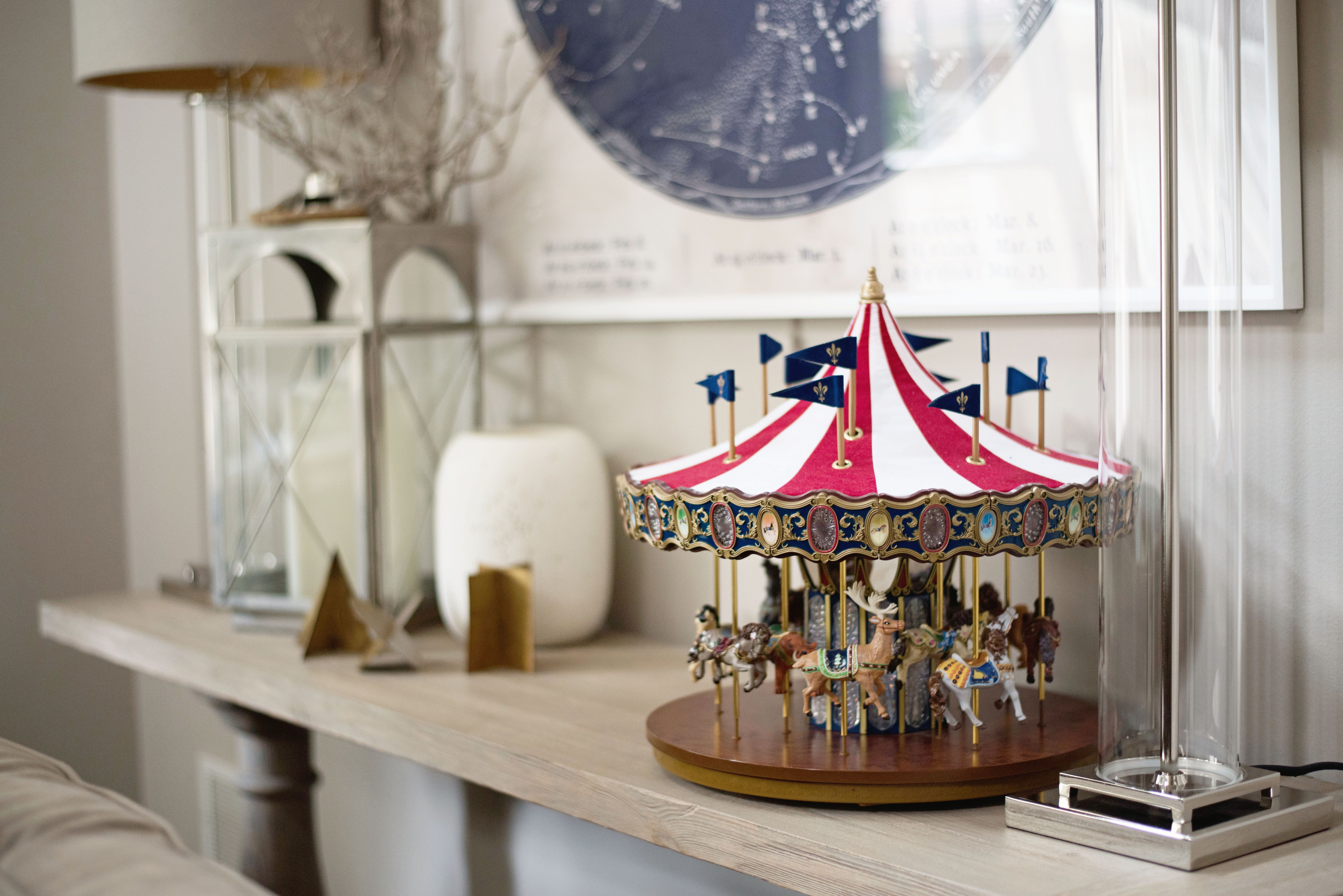 Family Room, Console Table, Lamps, Carousel, Artwork