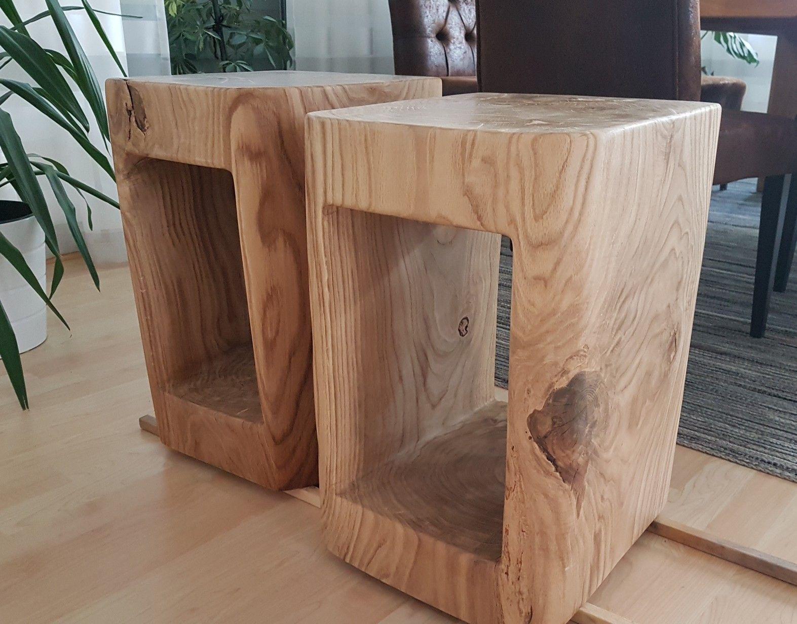 Zwei Nachttische aus einem Eichenstamm hergestellt | Selfmade by ...
