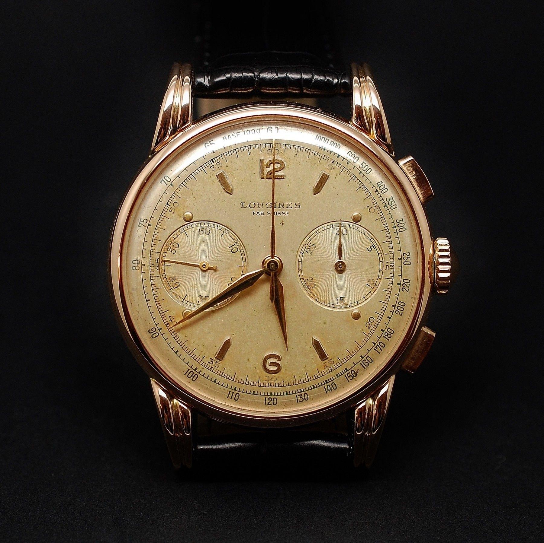 vendre 5800 montre longines vintage chronographe or. Black Bedroom Furniture Sets. Home Design Ideas