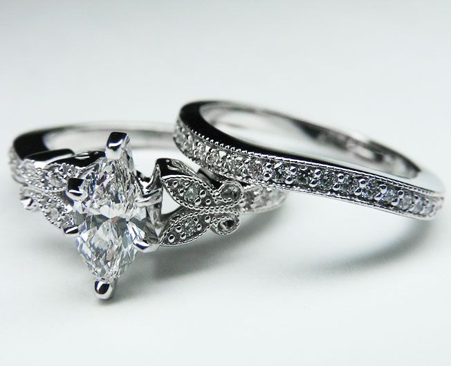 Engagement Ring Marquise Diamond Butterfly Vintage Engagement Ring Setting Engagement Ring Matching Wedding Band Engagement Rings Marquise Wedding Ring Bands