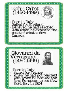 John Cabot/Giovanni da Verrazano Cabot discovered parts or north america Verrazano discovered new york bay