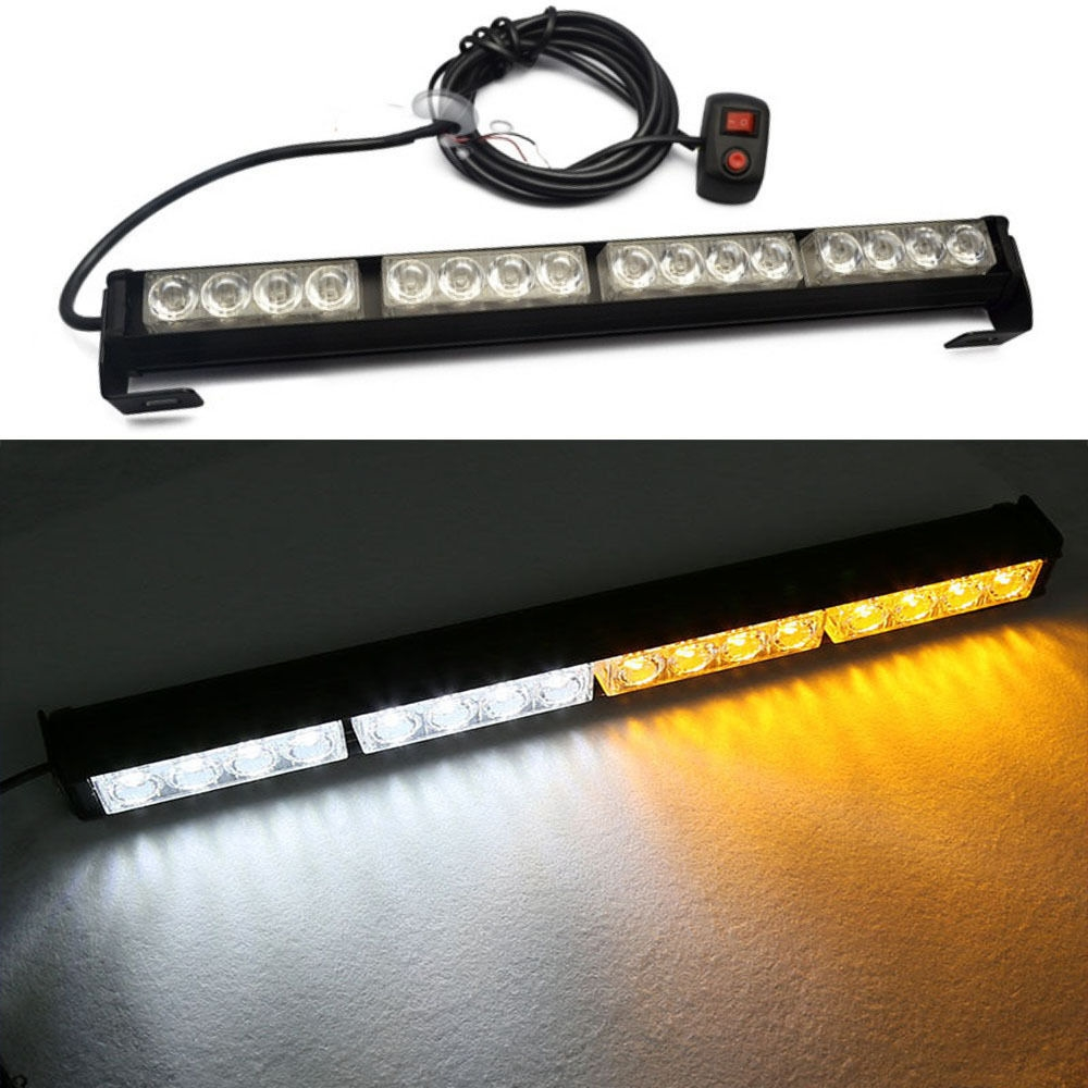29.99$  Watch here - 16 LED Amber&White Emergency Warning Light Bar Traffic Advisor Strobe Flash Lamp  #SHOPPING
