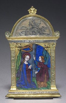 The Annunciation  Attributed to the Master of the Large Foreheads(active early 16th century)  French (Limoges)  About 1500  Enamel painted on copper  Width 11.2 cmx height 18 cm