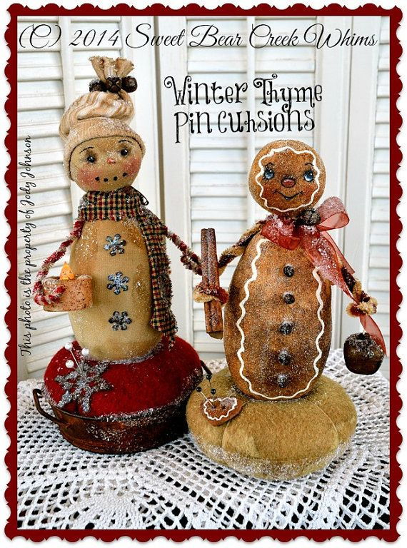 Primitive Snowman pattern, Gingerbread Pattern, Pin Cushion pattern ...