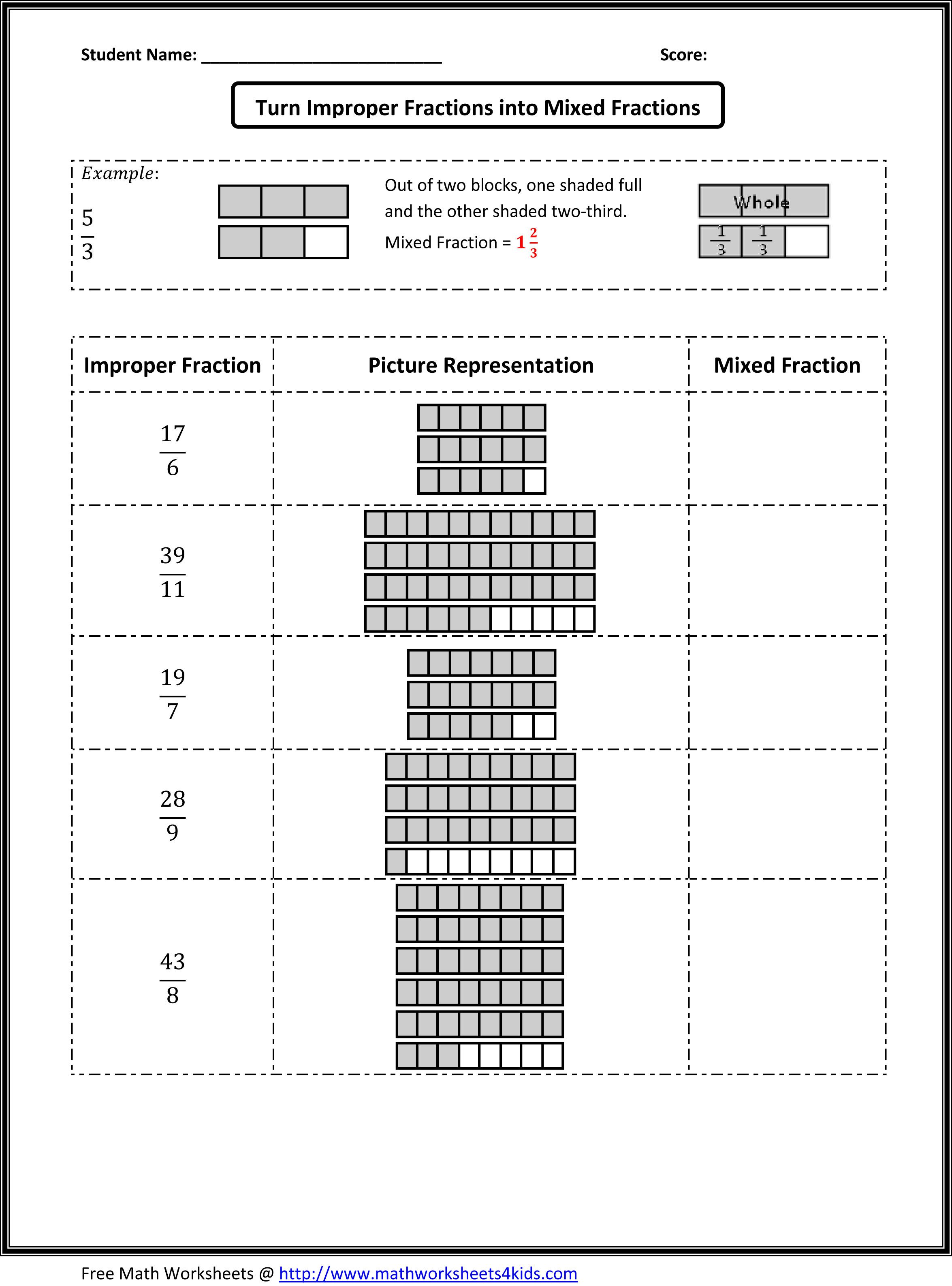 hight resolution of Types of Fractions Worksheets   Fractions worksheets